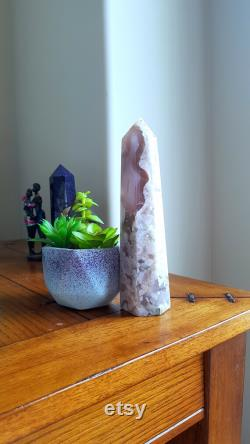 Smoky Flower Agate Tower with Druzy