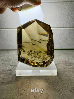 Special natural cutting andara crystal clear brown white dot 1590gr with base for collection