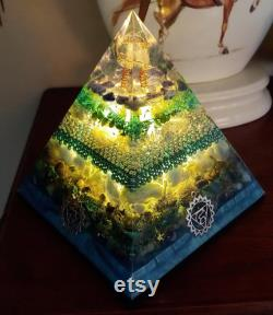 Throat Chakra Balancing Orgonite Pyramid Lamp- Vishuddha