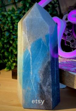 Trolleite Generator with Blue and Black XL Huge Tower for Crystal Healing Rapid Growth