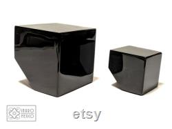 Truncated Cube set, Two Black Obsidian cubes, boss gift, father gift, reiki, 3.14 paperweight