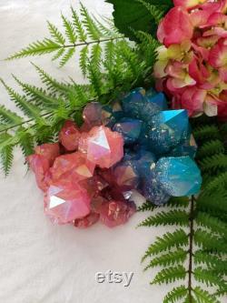 Very large rose aqua aura quartz cluster
