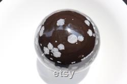 XXL Snowflake Obsidian Crystal Ball Sphere, Base and Solar Plexus Chakras Healing stone sphere, GroundingSnowflake Obsidian Polished Crystal.