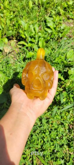 Yellow Fluorite Pumpkin Skull